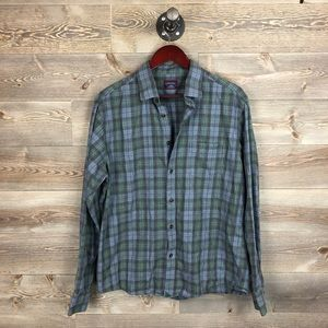 UNTUCKit blue green plaid flannel button up